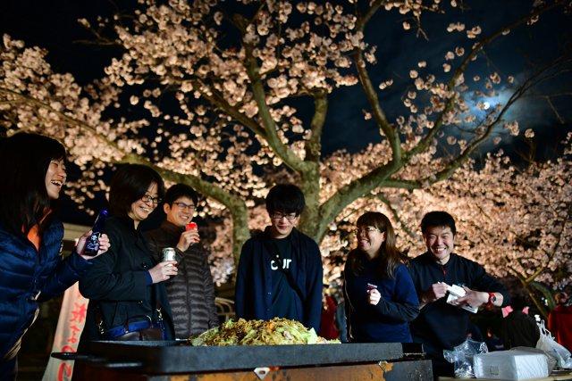 夜桜とBBQ