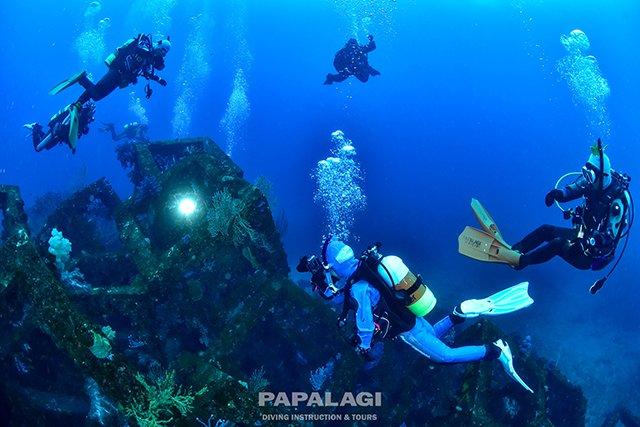 中層を飛ぶように漁礁まで