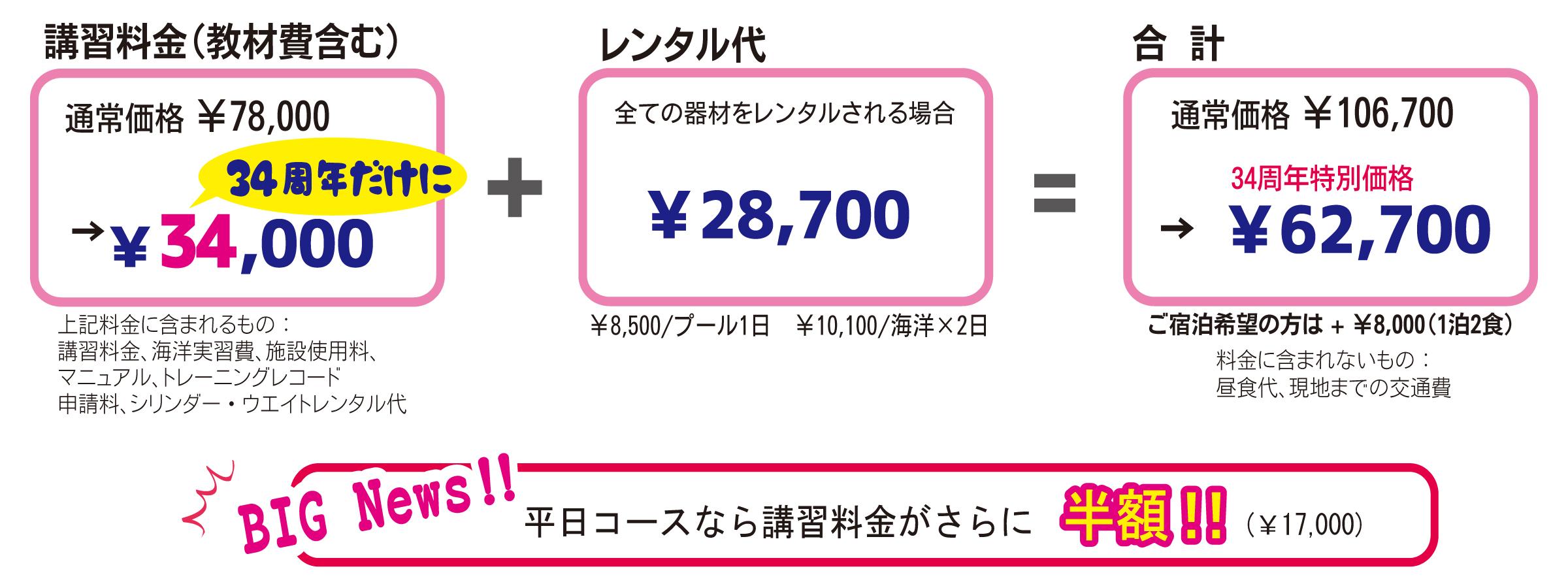 講習料金34,000円+レンタル代28,700円=62,700円