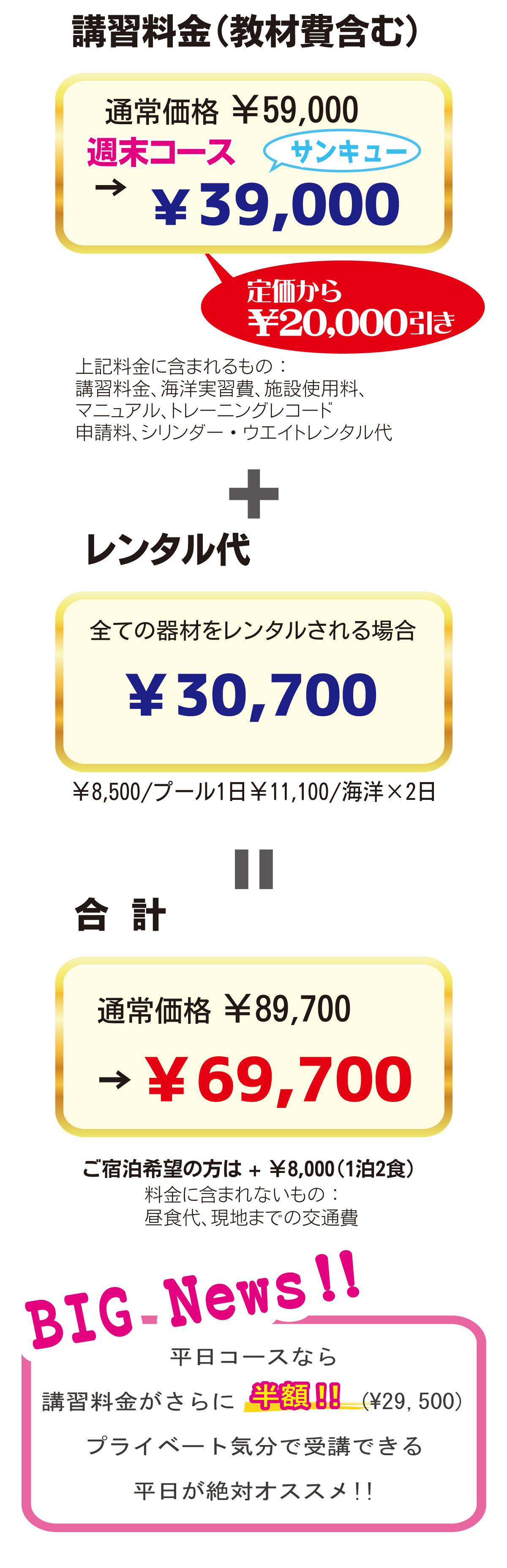 講習料金39,000円+レンタル代30,700円=69,700円