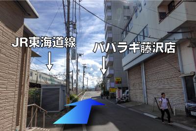 左側に線路が見えてきたら右側にパパラギも見えてきます。